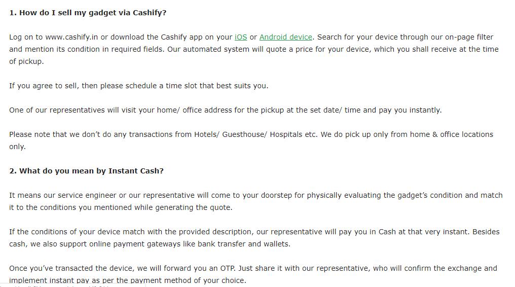 Cashify - FAQ Page
