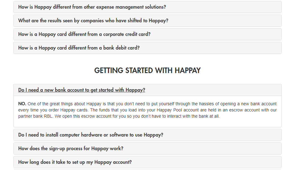Happay - FAQ Page