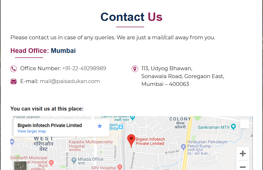 Paisa Dukan - best contact us pages