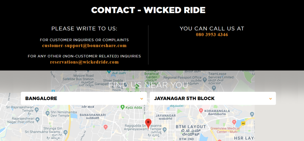 Wicked Ride - best contact us pages