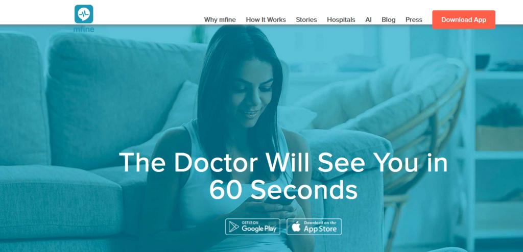 mfine - best homepage design