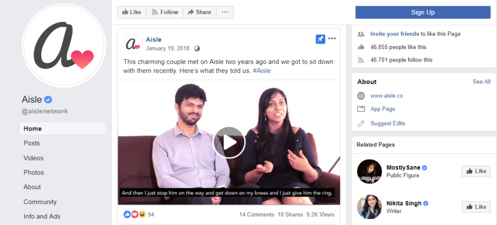 Aisle - Facebook Page