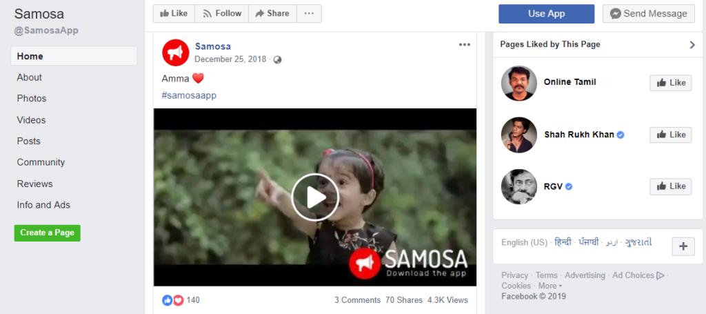 Samosa - Facebook Page