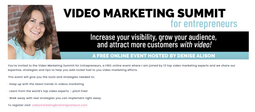 video marketing summit for entrepreneurs