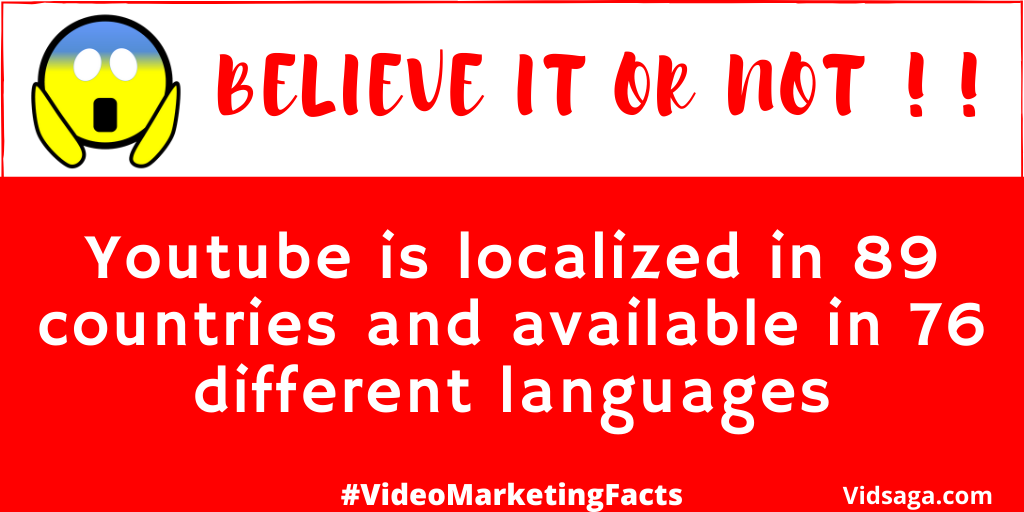 youtube in 89 countries and 76 different languages