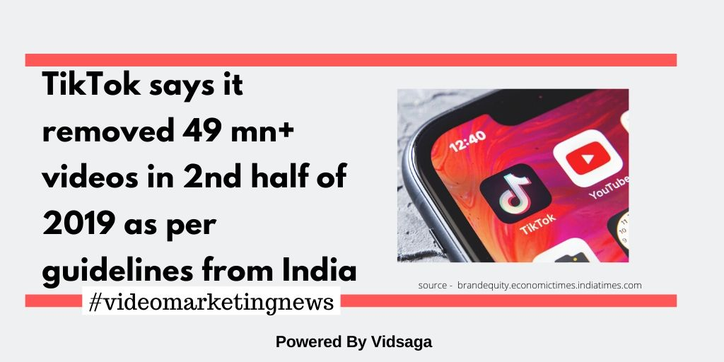 TikTok says it removed 49 mn+ videos in 2nd half of 2019 as per guidelines from India